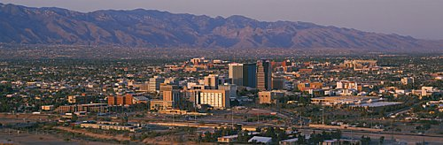 Helicopter shot of Tucson