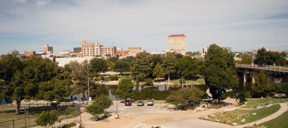 Aerial photo of daytime skyline of Lubbock Texas